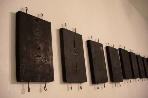 Plaster, Glass, Japanese sumi ink, Metal | each : 170 x 330 x 20 mm | 2002