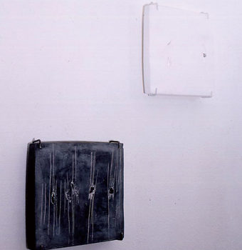 Plaster, Glass, Japanese sumi ink, Metal | each 250 x 250 x 20 mm | 2003