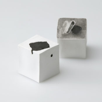 Plaster, Glass, Japanese sumi ink | each 50 x 50 x 50 mm | 2003