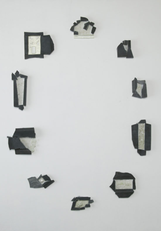 Plaster, Glass, Japanese sumi ink, Resin | 700 x 1320 mm | 2004